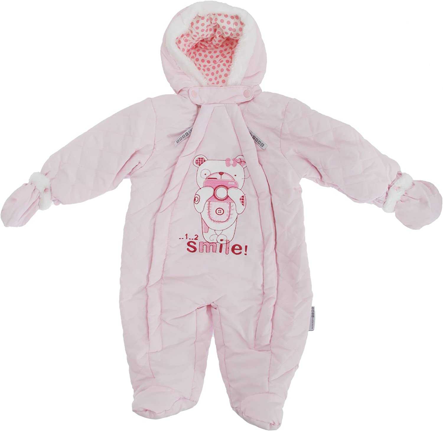 Baby Boys//Girls Teddy Bear Camera All in One Hooded Winter Snowsuit Pink Newborn