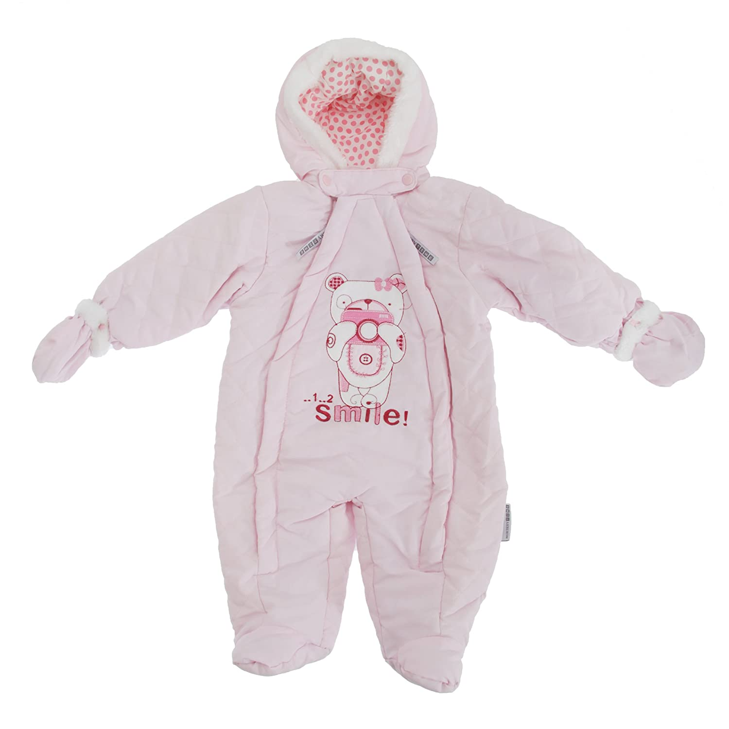 Baby Boys/Girls Teddy Bear Camera All In One Hooded Winter Snowsuit (Newborn) (Pink) Universal Textiles UTBABY998_6
