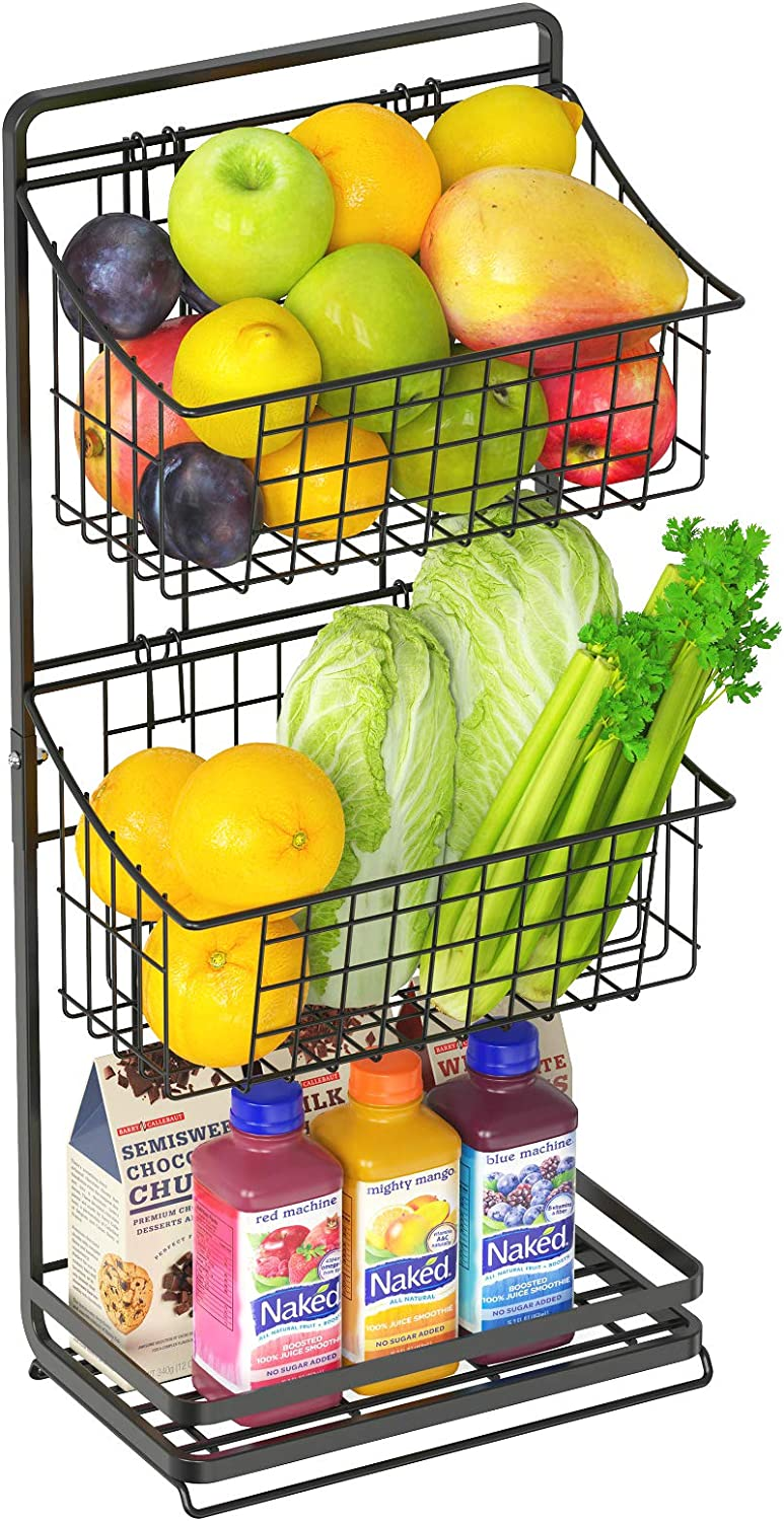 Wire Market Basket Stand, Packism Countertop 3 Tier Fruit Basket Stand with Removable Wire Basket for Fruit, Vegetable, Snacks, Potato, Floor Standing Metal Storage Basket for Kitchen Bathroom Pantry