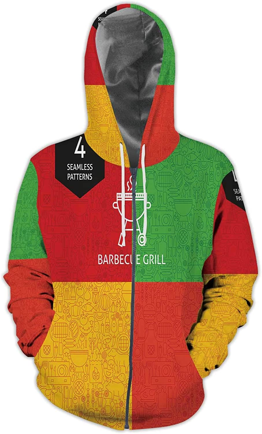 Thin Line Barbecue Pattern Set,Men//Womens Warm Outerwear Jackets and Hoodies S