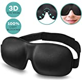 Sleep Mask, Adjustable 3D Contoured Lightweight and Breathable Night Blindfold Sleeping Eye Mask, Comfortable & Super Soft Sleep Mask for Women, Men, Kids, Travel, Shift Works, Nap (Black)