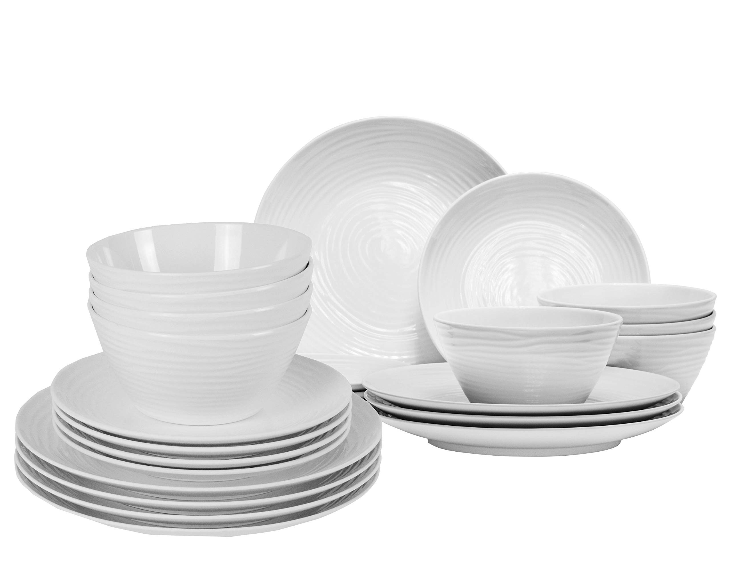 Parhoma White Melamine Home Dinnerware Set, 24-Piece Service 8 people