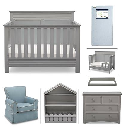 Crib Furniture 7 Piece Nursery Set With Crib Mattress Convertible Crib Dresser Bookcase Glider Chair Changing Top Toddler Rail Serta Fall