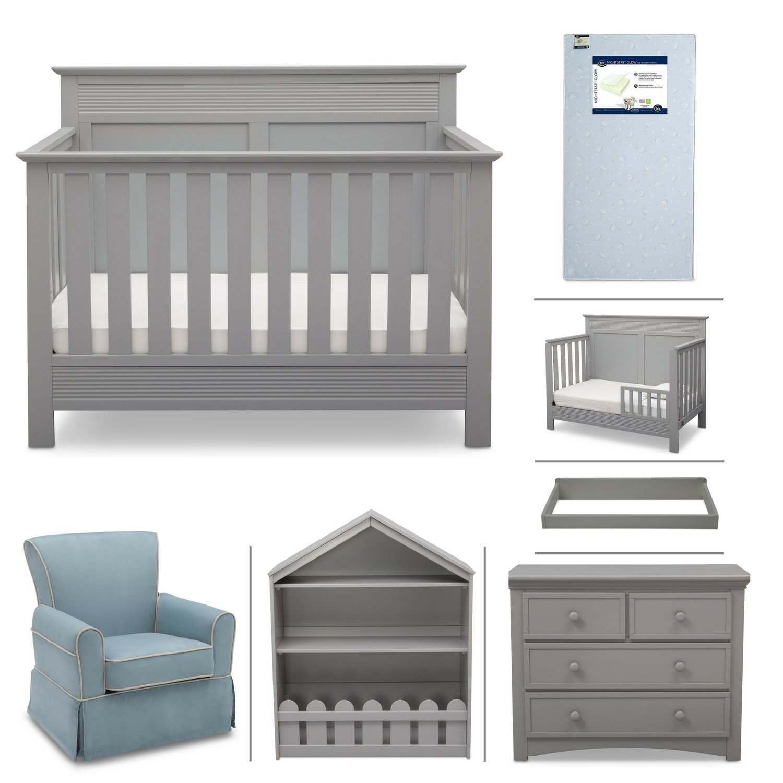 Crib Furniture - 7 Piece Nursery Set with Crib Mattress, Convertible Crib, Dresser, Bookcase, Glider Chair, Changing Top, Toddler Rail, Serta Fall River - Grey/Baby Blue