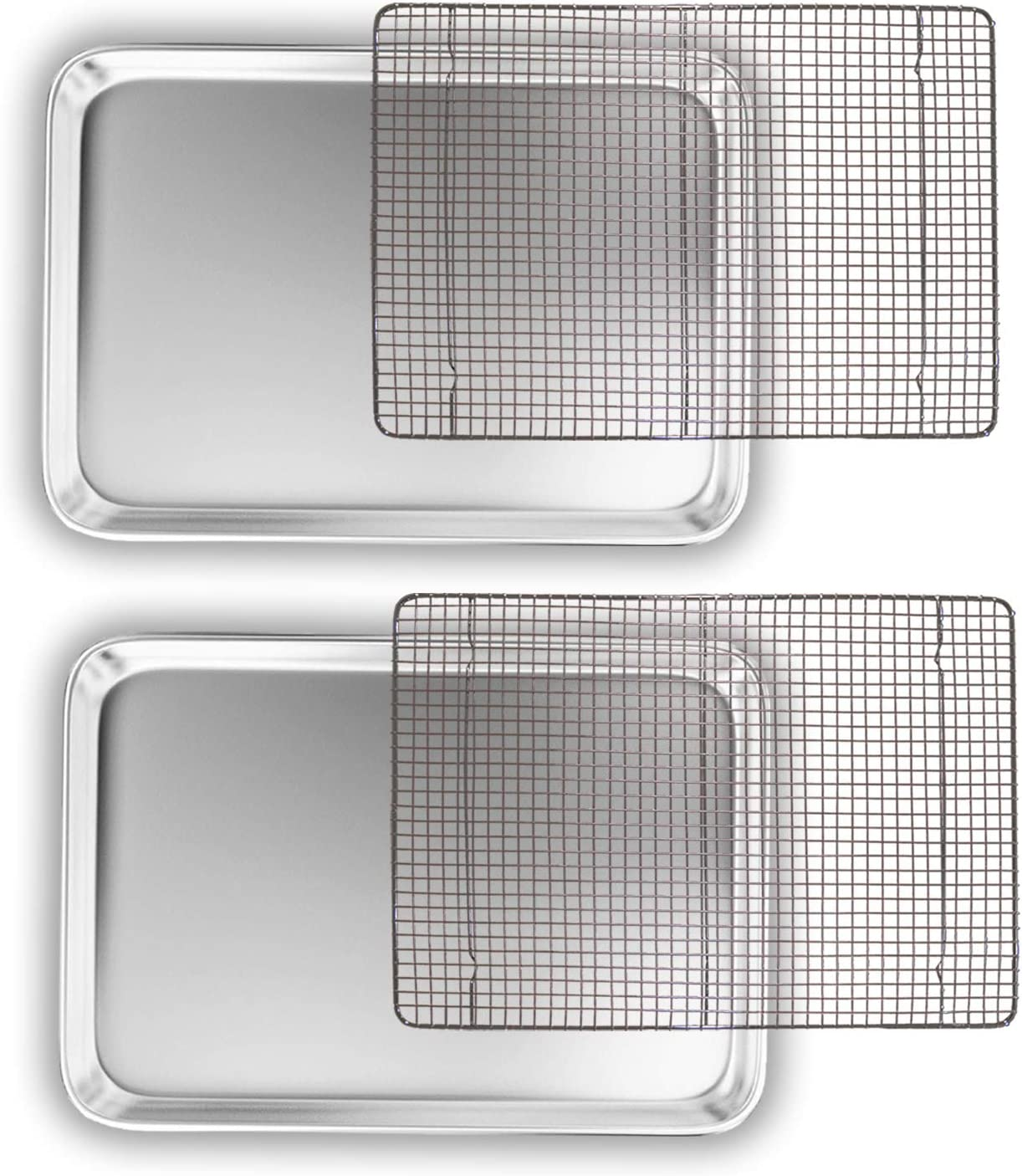 Bakeware Set – 2 Aluminum Sheet Pan, 2 Bakeable Cooling Rack (Stainless Steel) –All Half Size – for Commercial or Home Use. Non Toxic, Perfect Baking Supply set for gifts