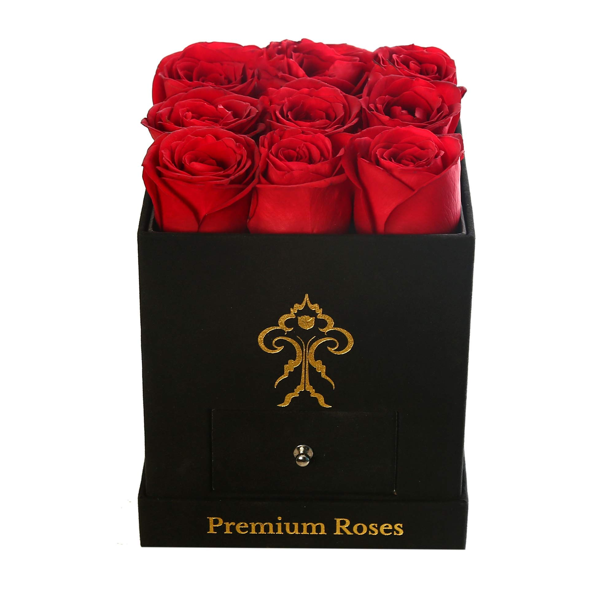 Premium Roses| Real Roses That Last a Year | Fresh Flowers| Roses in a Box (Black Box, Small) by Premium Roses