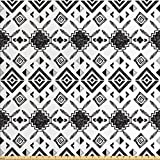 Tribal Fabric by the Yard by Ambesonne, Hand Drawn Sketchy Ethnic Traditional Pattern Native American Ornaments Retro Style, Decorative Fabric for Upholstery and Home Accents, Black White