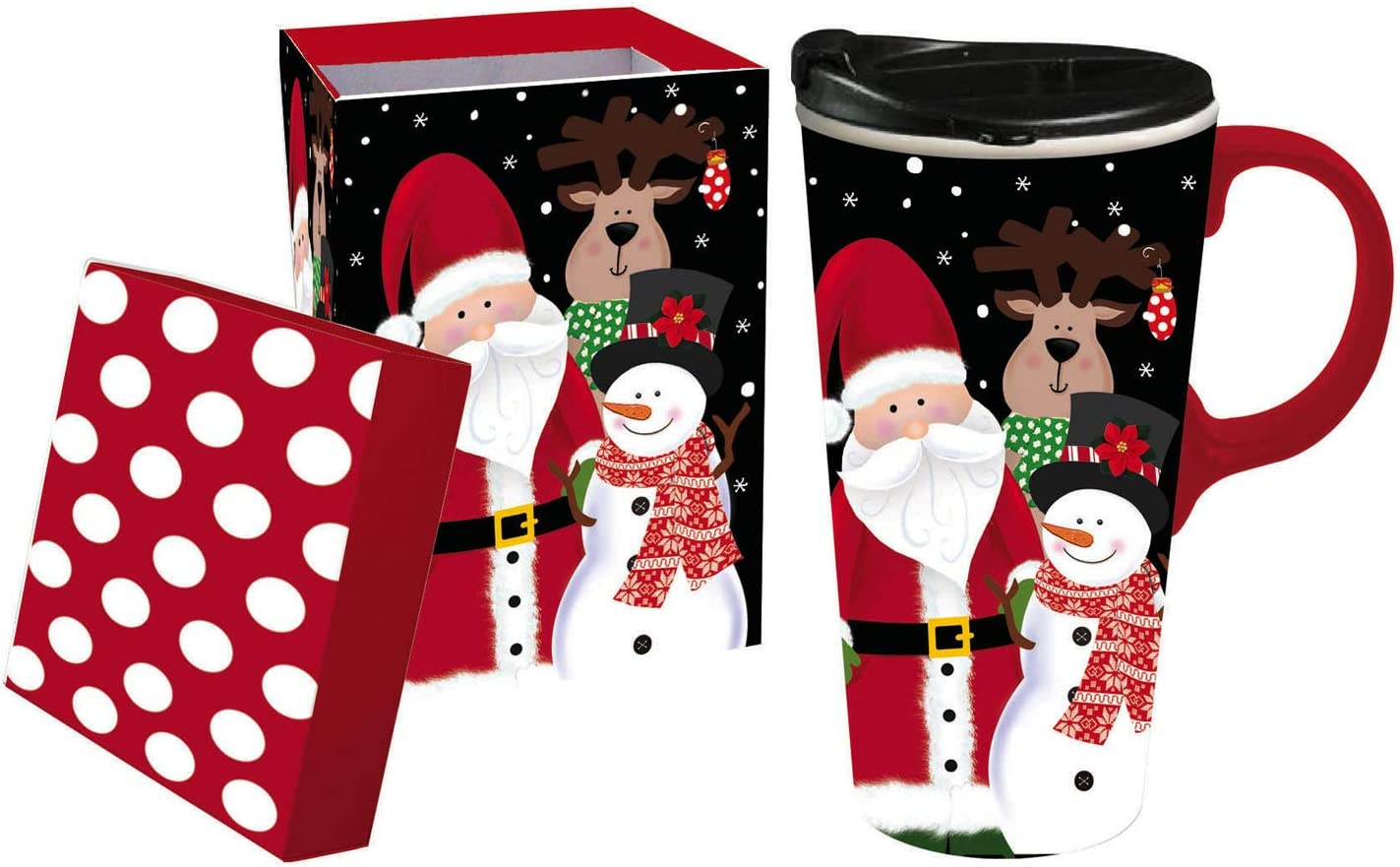 Cypress Home Beautiful Santa and Friends Ceramic Travel Cup with Matching Box - 4 x 5 x 7 Inches Indoor/Outdoor home goods For Kitchens, Parties and Homes