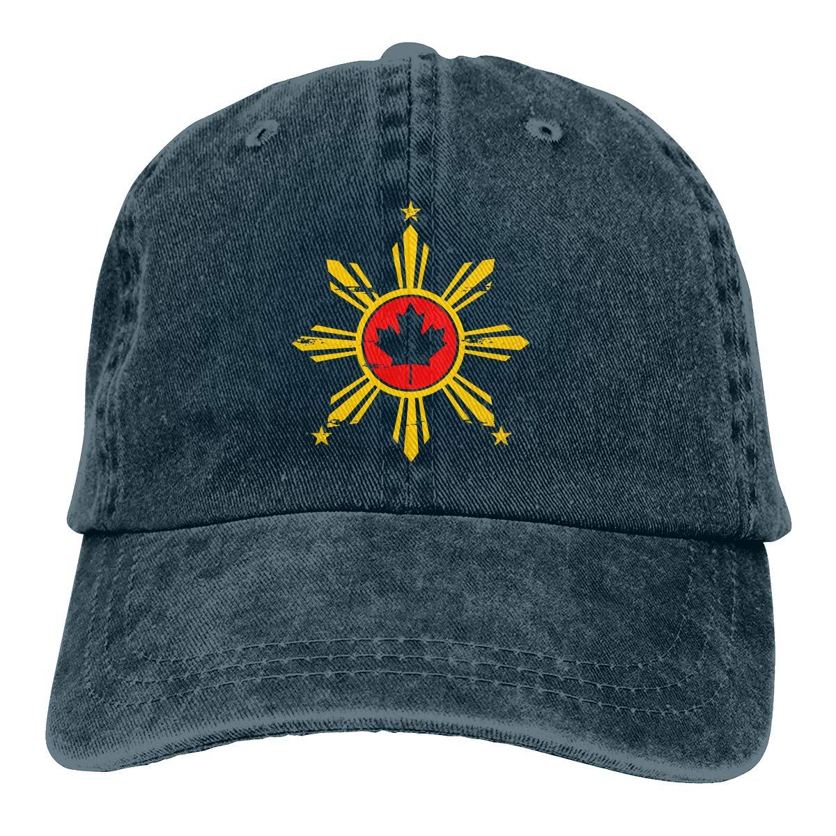 Filipino Canadian Flag Unisex Custom Jeans Hip Hop Cap Adjustable Baseball Cap