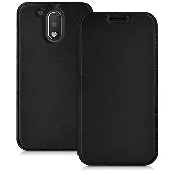 kwmobile Funda para Motorola Moto G4 / Moto G4 Plus - Carcasa con [Tapa Tipo Libro] para móvil - Case Protector en [Negro]