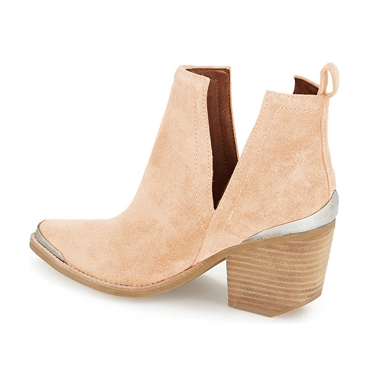 YDN Heel Women Ankle Booties Low Heel YDN Faux Suede Stacked Boots Cut Out Shoes with Metal Toe B01NCPU5FC 5 M US|Beige 098d2b
