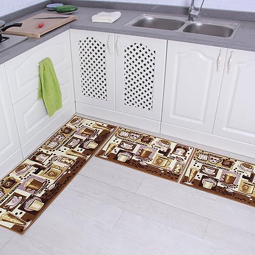 Cof Carvapet 3 Piece Non-Slip Kitchen Mat Rubber Backing Doormat Runner Rug Set