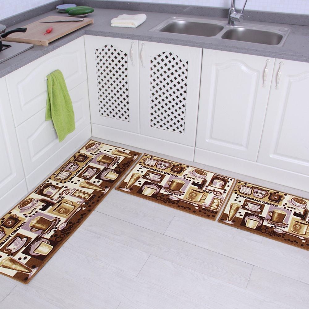 "Carvapet 3 Piece Non-Slip Kitchen Mat Rubber Backing Doormat Runner Rug Set, Coffee Design (Brown 15""x47""+15""x23"")"