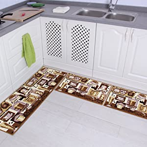 "Carvapet 3 Piece Non-Slip Kitchen Mat Rubber Backing Doormat Runner Rug Set, Coffee Design (Brown 15""x47""+15""x23"")"