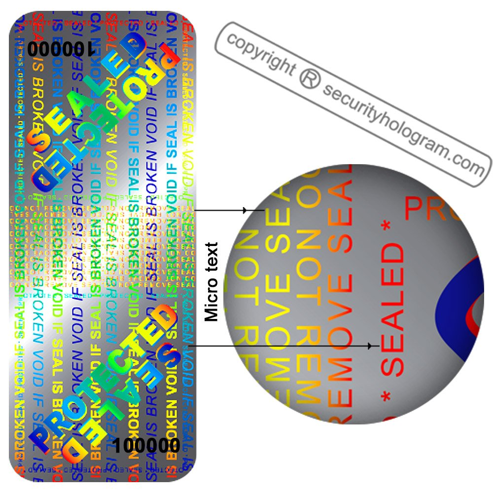 60 3D Stickers Protective Security Holograms ''Seal and Protect'' VOIDABLE!! Tamper Evident With DOUBLE SERIAL NUMBERS 2'' x 0.79'' (50 x 20 mm) by Security Hologram® (Image #6)