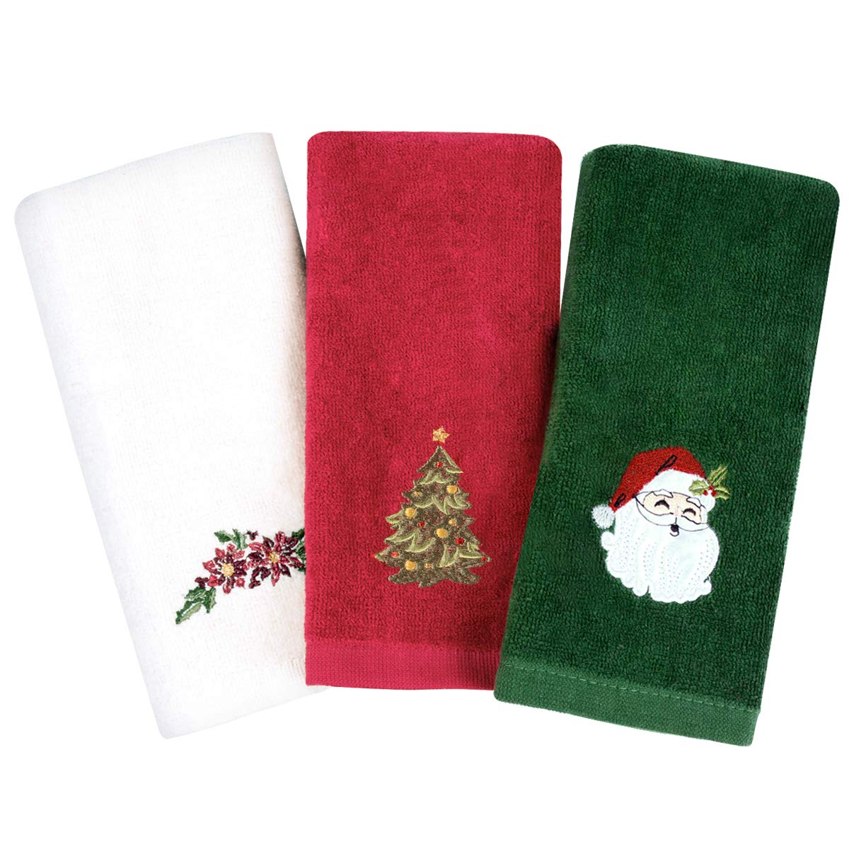 Armyte Christmas Hand Towels Washcloths  12 x 18 inch 100  Pure Cotton Towels Bathroom Kitchen Wash Basin  Drying  Cleaning  for Home and Kitchen  Set of 3  Red  White  Green