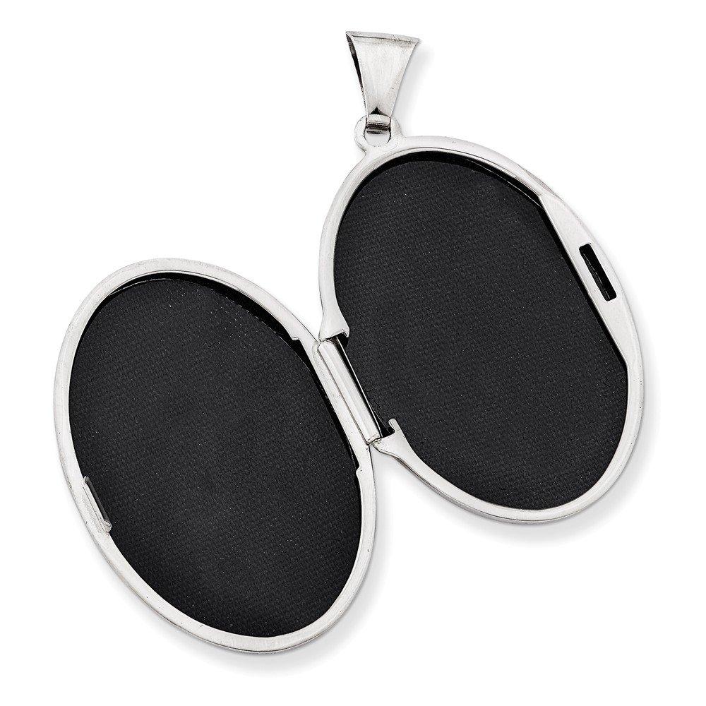 .925 Sterling Silver 2-Frame Oval Locket Charm Pendant