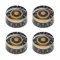 MagiDeal Black Gold Control Knob Acrylic Speed Knob w/ White Word for Electric Guitar
