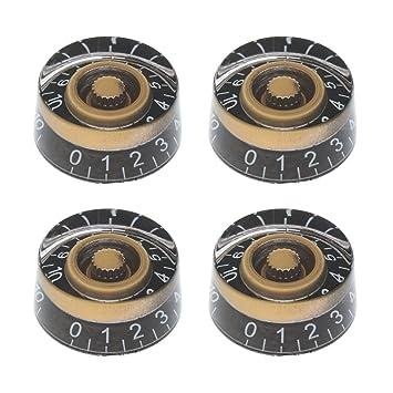 4pcs Botones Perillas con Números Instrumentos Musicales Accesorio de Guitarra Bajo Eléctrico Control Tono Volumen Bricoleja - Negra y Blanca: Amazon.es: ...