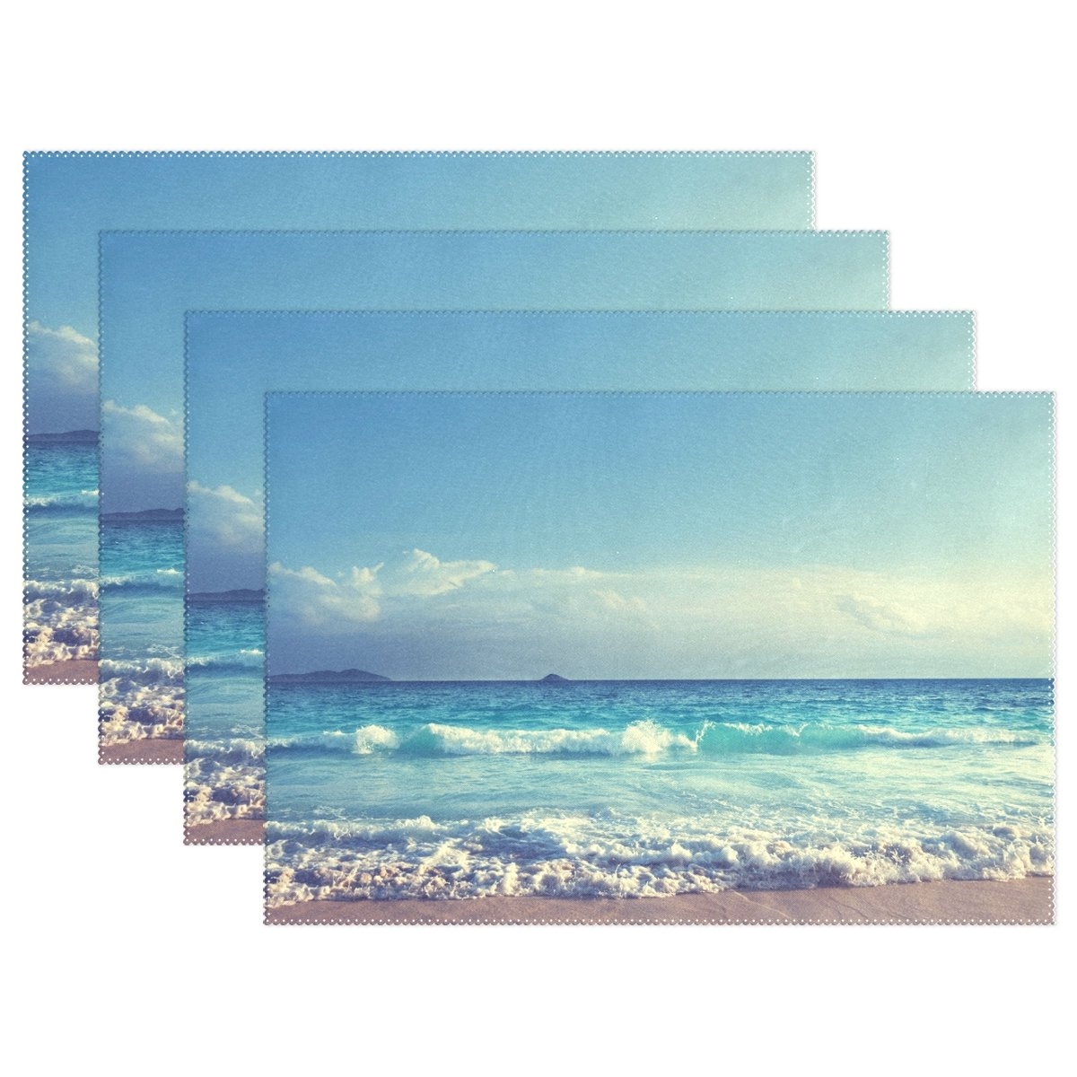 WozoブルーSky Ocean Wave Seaプレースマットテーブルマット、美しい自然風景12