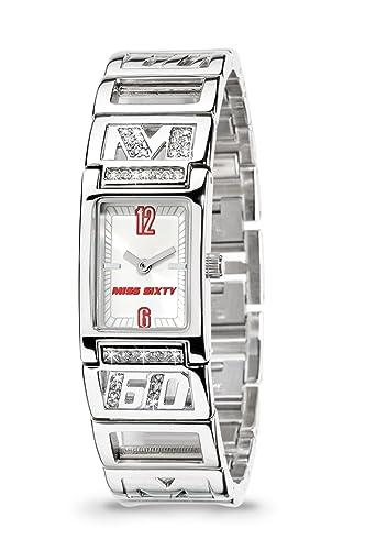 Miss Sixty SQY002 - Reloj para niñas de cuarzo, correa de acero inoxidable color plata: Amazon.es: Relojes