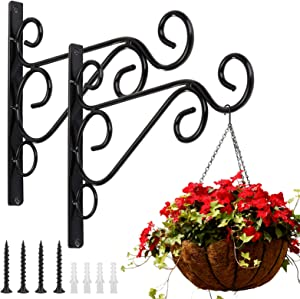 KABB Pack of 2 Black Iron Outdoor Hanging Brackets Wall Hooks for Bird Feeder Lanterns Wind Chimes with Screws