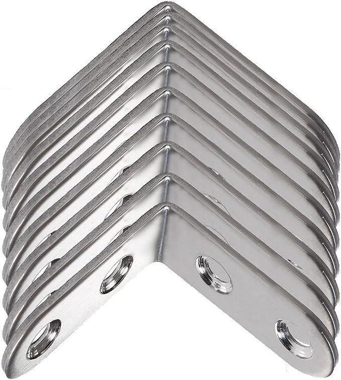 Supports angulaires droits de 90/degr/és Sicai 10 pi/èces Supports angulaires droits Supports angulaires en acier inoxydable de 40x40 mm