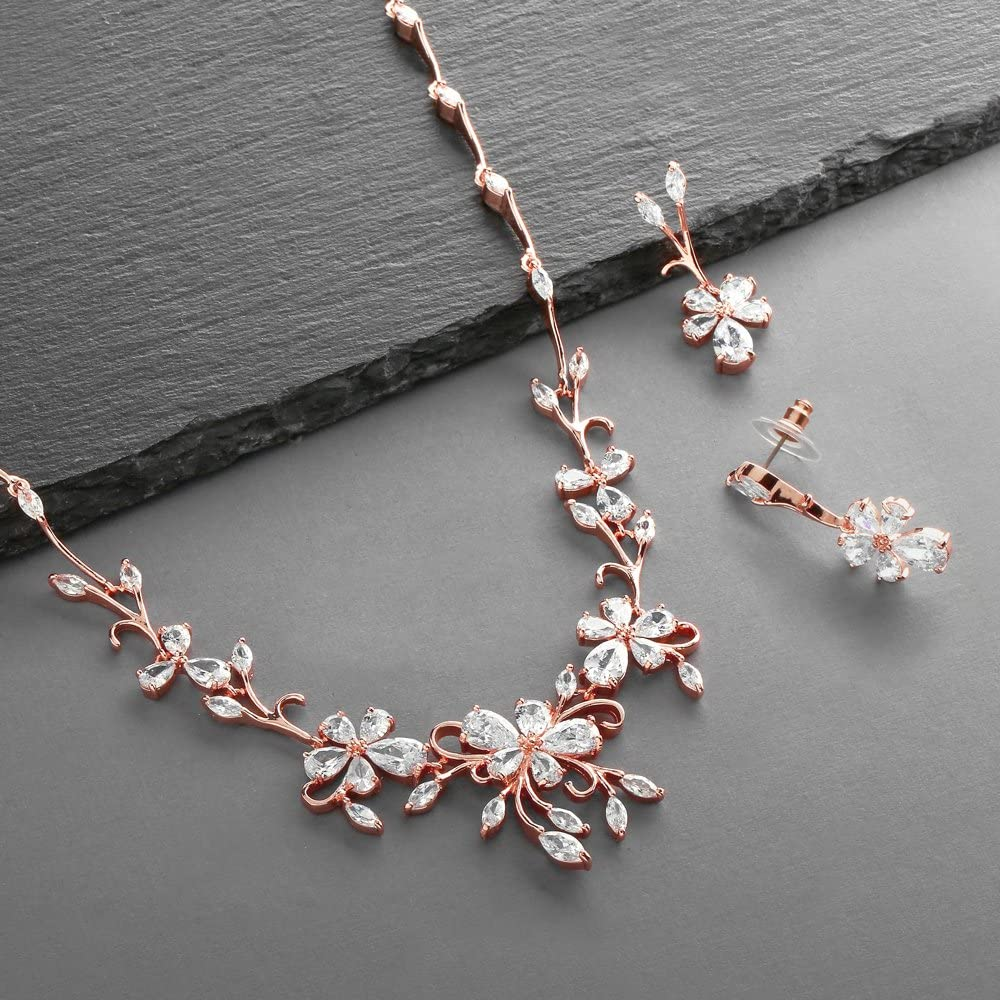 Small Gold Vermeil Rose Leaf Necklace and Earrings Set with Sterling Silver Minimalist Jewelry-Dangle Necklace Leaves-ToniRaeCreations