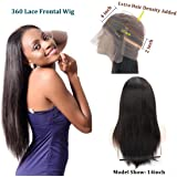 130% Density 360 Lace Wigs Pre Plucked Natural Hairline Straight 360 Lace Frontal Wig Malaysian Virgin Hair Full Lace Human Hair Wigs With Baby Hair