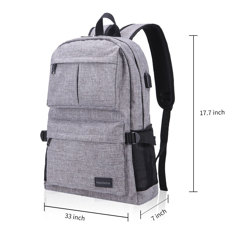 Hanxiema Travel Laptop Backpack Fit 15.6 Inch Laptop or Macbook Oxford Cloth with USB Charging Port Large Capacity School Computer Bag for Men Women (Grey HXm-02-1) by Hanxiema (Image #6)