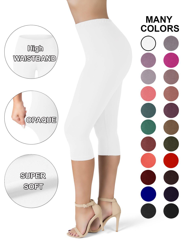 SATINA High Waisted Ultra Soft Capris Leggings - 20 Colors - Reg & Plus Size (One Size, White)