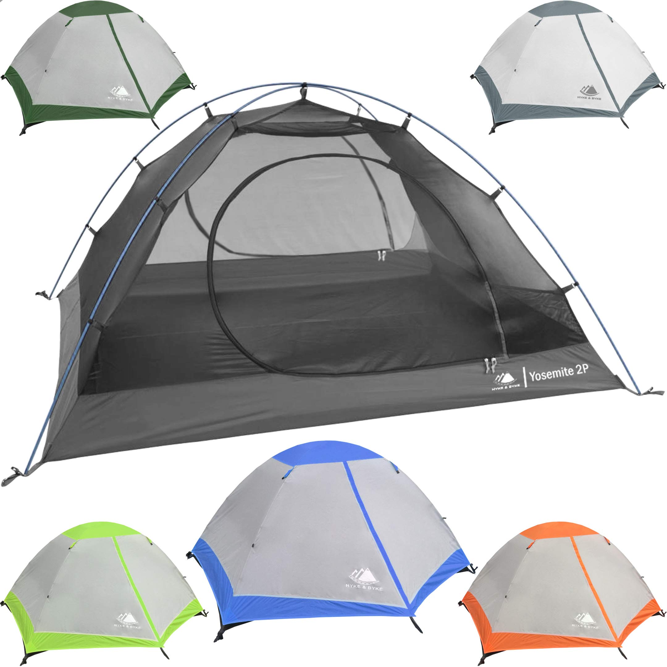 Hyke & Byke 2 Person Backpacking Tent with Footprint - Lightweight Yosemite Two Man 3 Season Ultralight, Waterproof, Ultra Compact 2p Freestanding Backpack Tents for Camping and Hiking (Blue) by Hyke & Byke