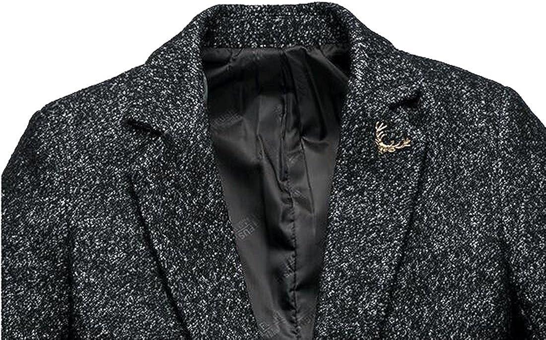 Spyman Fashion Mens Fashion Turn Down Collar Single Breasted Mid-Long Coat