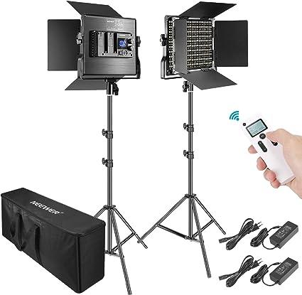 Neewer 2 Packs Avanzado 2,4G 660 LED Video Luz Fotografía Kit Iluminación con Bolsa Panel LED Bicolor Regulable con Control Remoto Inalámbrico 2,4G Pantalla LCD y Soporte de Luz: Amazon.es: Electrónica