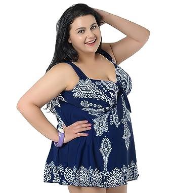Niseng Mujer Trajes De Baño Ropa Tallas Grandes Una Pieza Falda Y Pantalones Cortos Conjuntos Azul Marino 5XL