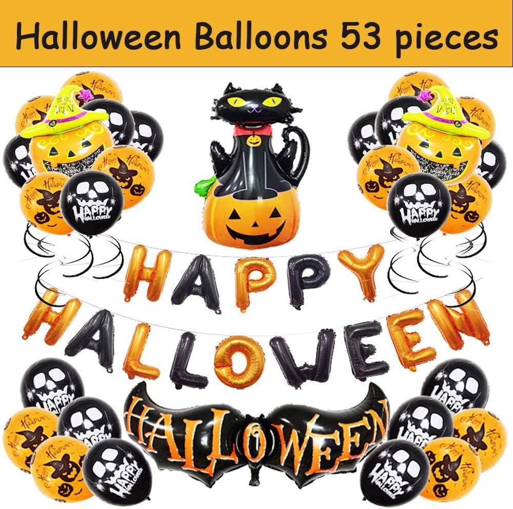 Halloween Balloons Set Decor Aluminum Foil Inflatable Bat Cat Pumpkin Balloon Home Indoor outdoor Decoration Supplies for Happy Halloween Party KTV Bar School Office 53 Pieces