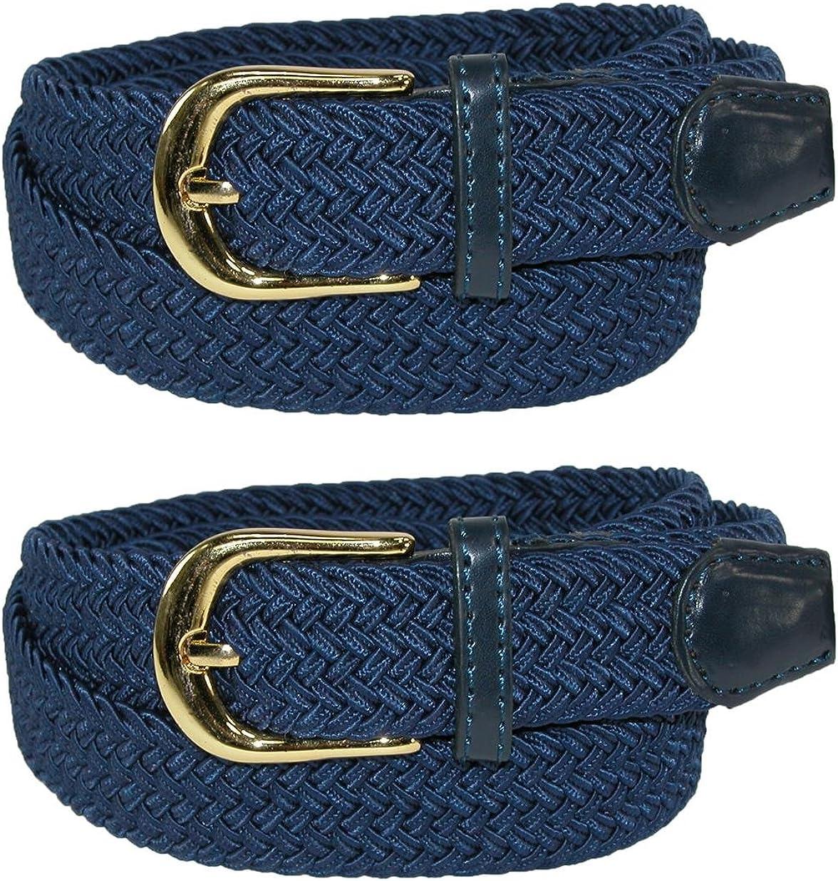 CTM Womens Elastic Braided Stretch Belt Pack of 2
