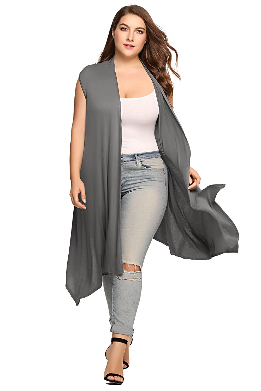 42f120a221 Zeagoo Womens Plus Size Sleeveless Cardigan Sweater Vest Solid Asymetric  Hem Open Front Soft Long Maxi Cardigan at Amazon Women s Clothing store