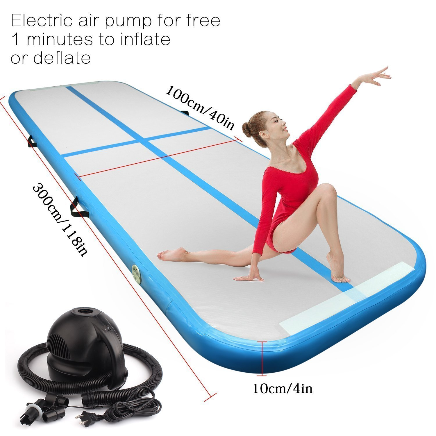 FBSPORT 9.84ft air Track Tumbling mat Inflatable Gymnastics airtrack with Electric Air Pump for Practice Gymnastics, Tumbling,Parkour, Home Floor