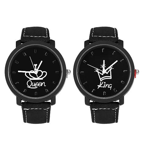 Reloj de pulsera con correa de cuero PU, Cuitan 2pcs Moda Parejas mujer & hombres
