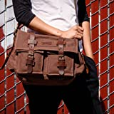 GEARONIC Mens Canvas Leather Messenger Bag for
