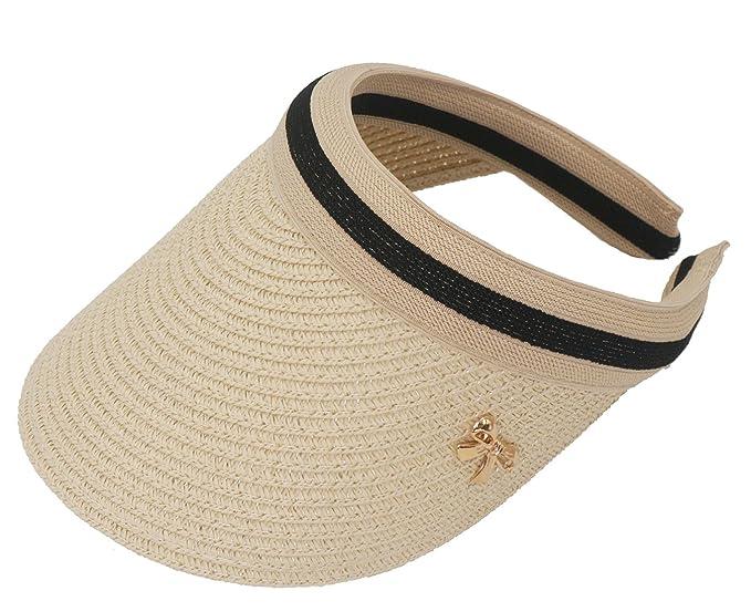 6f344ff0572c Roffatide Girls Visor Caps Empty Top Straw Hat Summer Cap Sun Protection  Beige