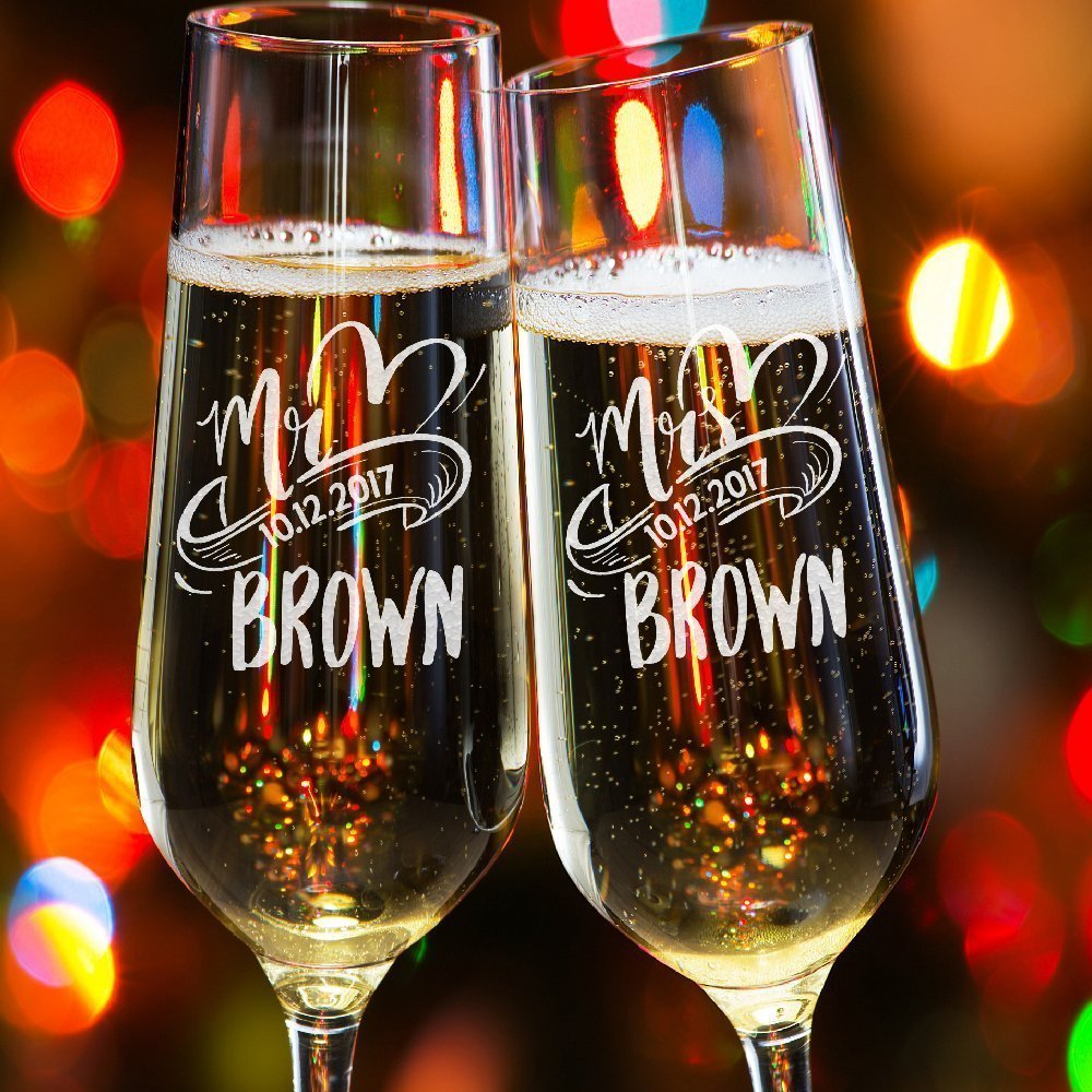 Lily's Atelier Set of 2, Hand Engraved Mr. Mrs. Last Name & Date Custom Wedding Toast Champagne Flute Set, Wedding Toasting Glasses - Etched Flutes for Bride & Groom Customized Wedding Gift #EH1 Lily's Atelier Set of 2