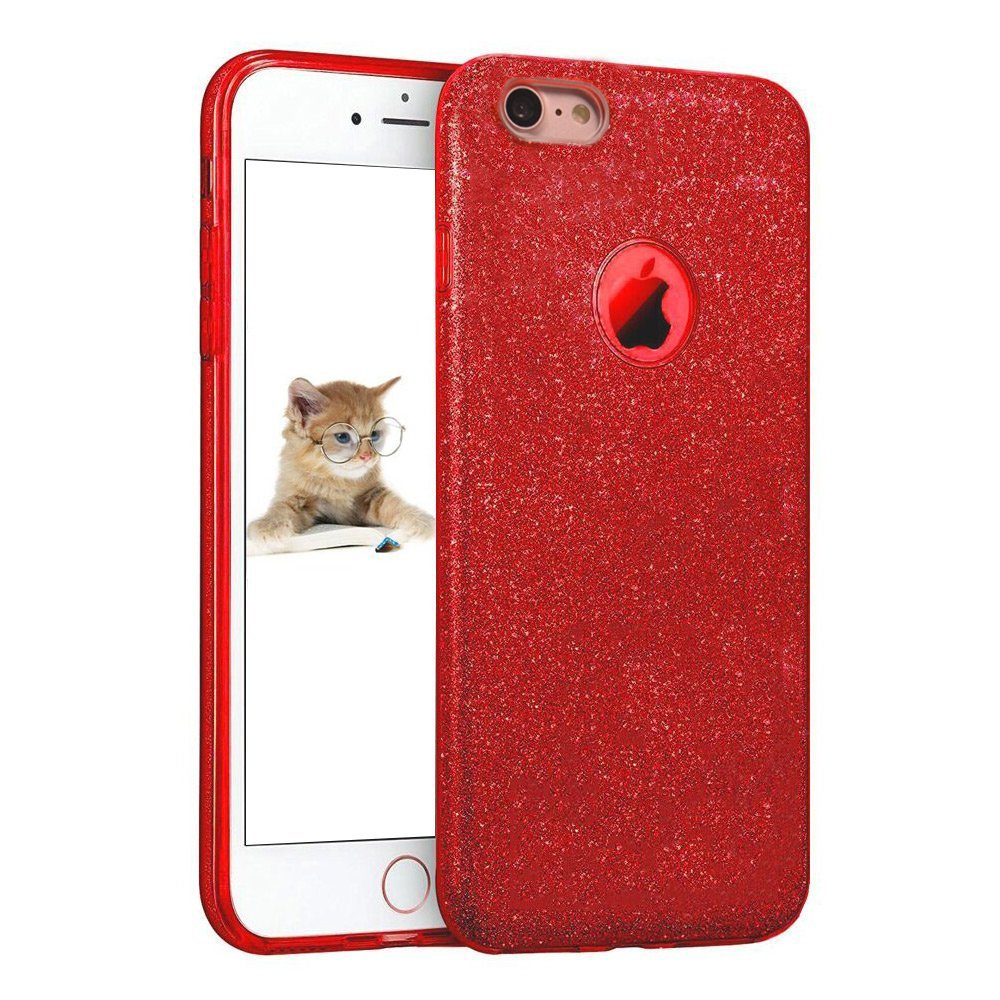 uiano iPhone SE5 5S Case, Sparkling Premium [3 in 1 Layers Protection] Hybrid Glitter Bling TPU phone Case Cover For iPhone SE/5S/5 (Red)