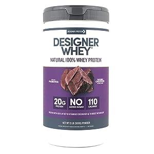 Designer Whey Protein Powder, Double Chocolate, 2 Pound, Non GMO