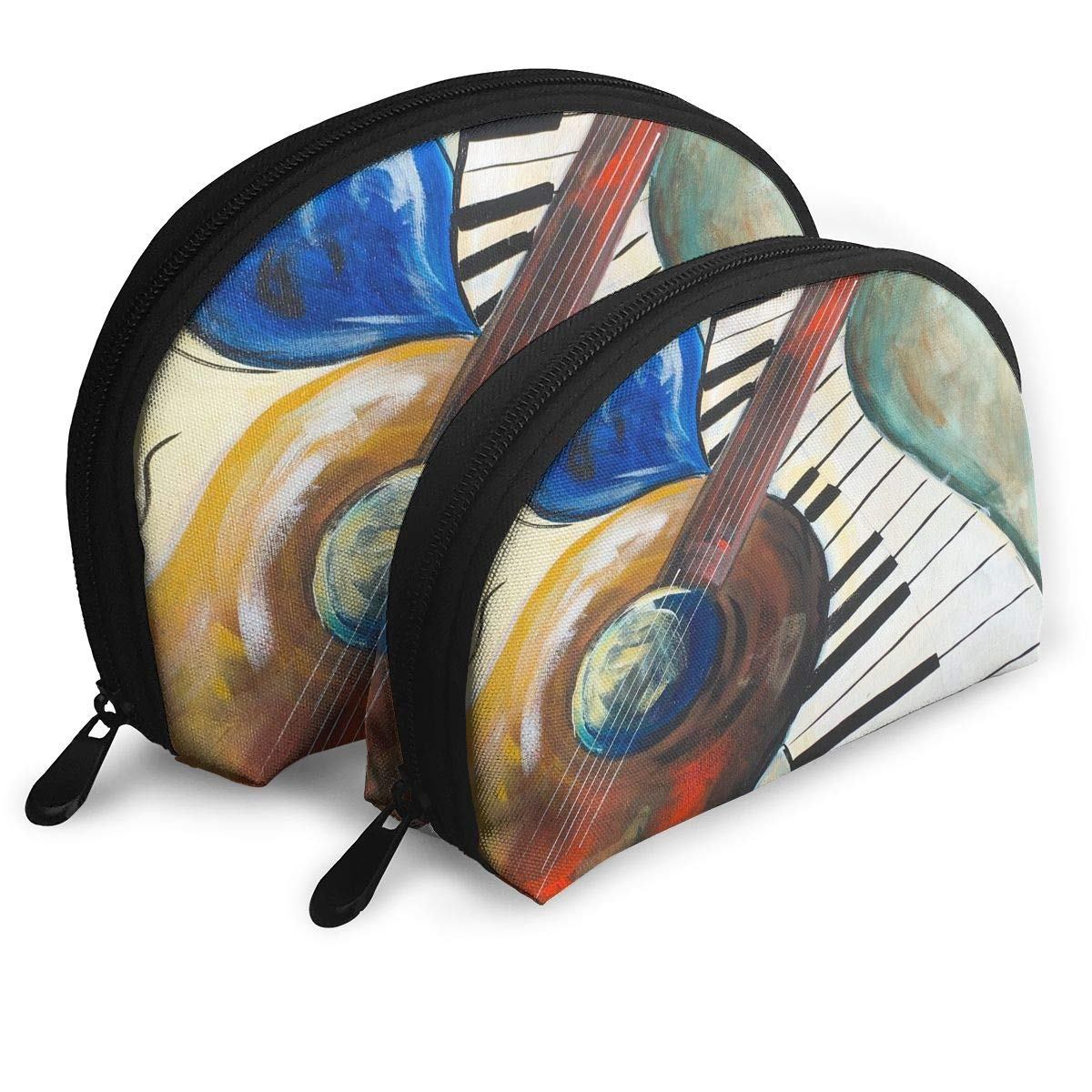 Pouch Zipper Toiletry Organizer Travel Makeup Clutch Bag Abstract Musical Notes Piano Portable Bags Clutch Pouch Storage Bags