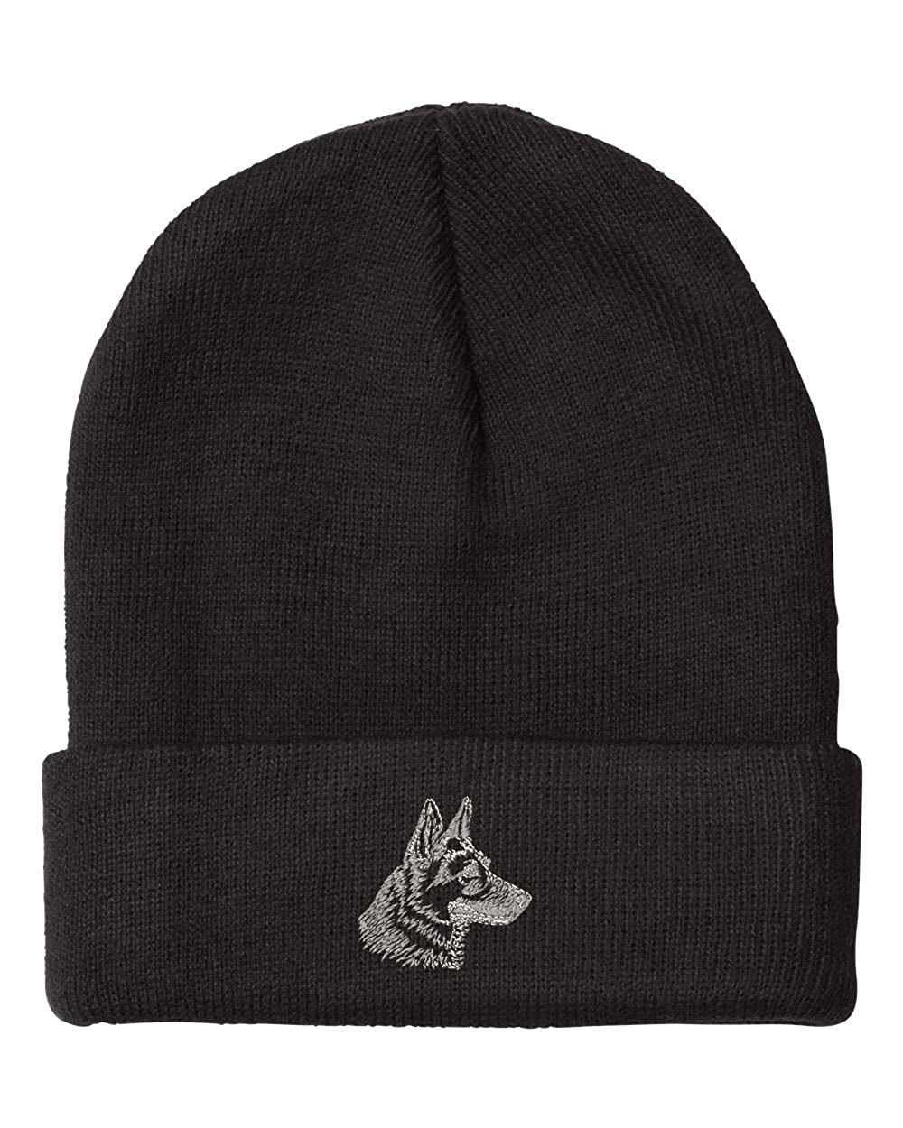 7215c5fd86c Amazon.com  German Shepherd Head Silver Embroidery Embroidered Beanie  Skully Hat Cap Black  Clothing