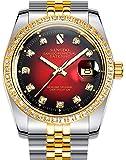 Men's Diamond Inlay Bezel Red Dial Stainless Steel Band Calendar Waterproof Automatic Mechanical Watch