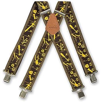 94b99aac5d137 Brimarc Bretelles de travail tendance pour homme Noir Motif outils et  graduations Largeur 50 mm