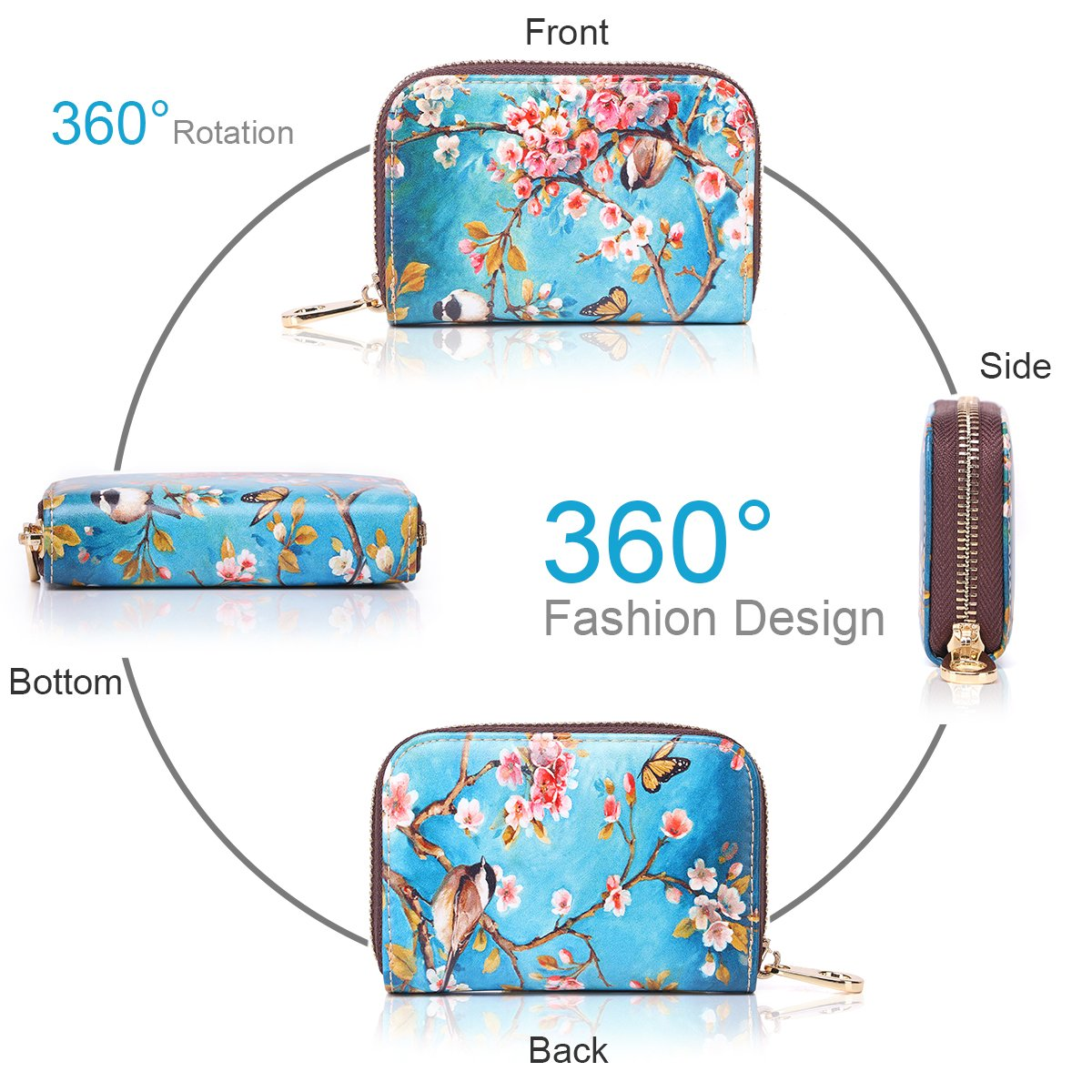 APHISON RFID Credit Card Holder Wallets for Women Leather Cartoon Patterns Zipper Card Case for Ladies Girls/Gift Box 010 by APHISON (Image #4)